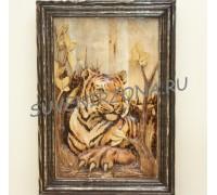 Панно большое (70см х 50см) «Амурская тигрица после охоты»