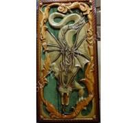 Нарды сквозная резка «Дракон» зеленый бархат