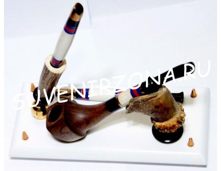 «Норд» Курительный набор + шариковая ручка (рог лося, латунь, эбонит, оргстекло)